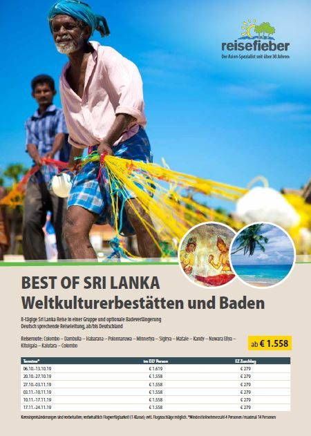 Entdecken Sie unsere Sri Lanka Reisen auf unserem Flyer