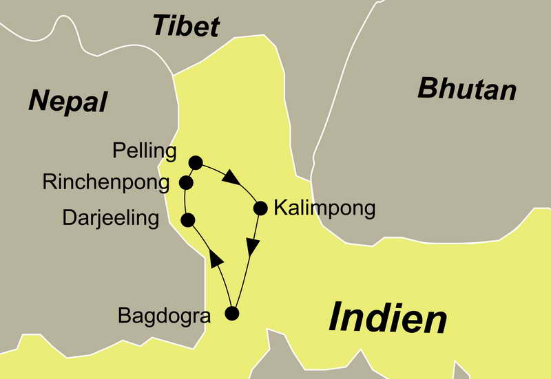 Die Reiseroute der Reise Darjeeling und Sikkim führt Sie von Bagdogra über Darjeeling, Rinchenpong, Pelling und Kalimpong wieder zurück nach Bagdogra.