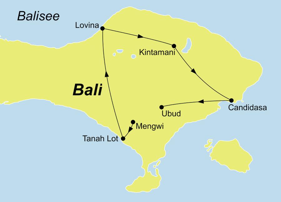 Die Reiseroute der Faszinierendes Bali Rundreise führt von Mengwi über Lovina, Kintamani und Candidasa nach Ubud.