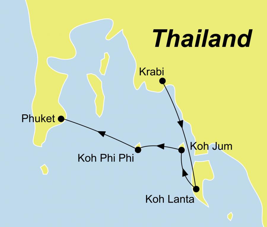 Die Rundreise Inselparadiese Thailand führt von Krabi über Koh Jum, Koh Lanta und Koh Phi Phi nach Phuket.