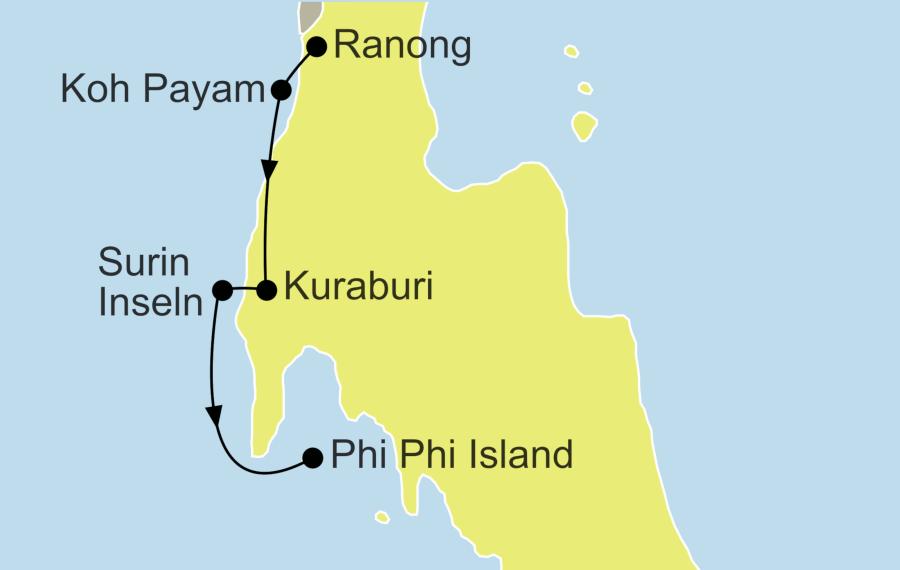 Die Honeymoon in Thailand Rundreise führt von Ranong über Koh Phayam, Kuraburi und die Surin Inseln nach Koh Phi Phi.