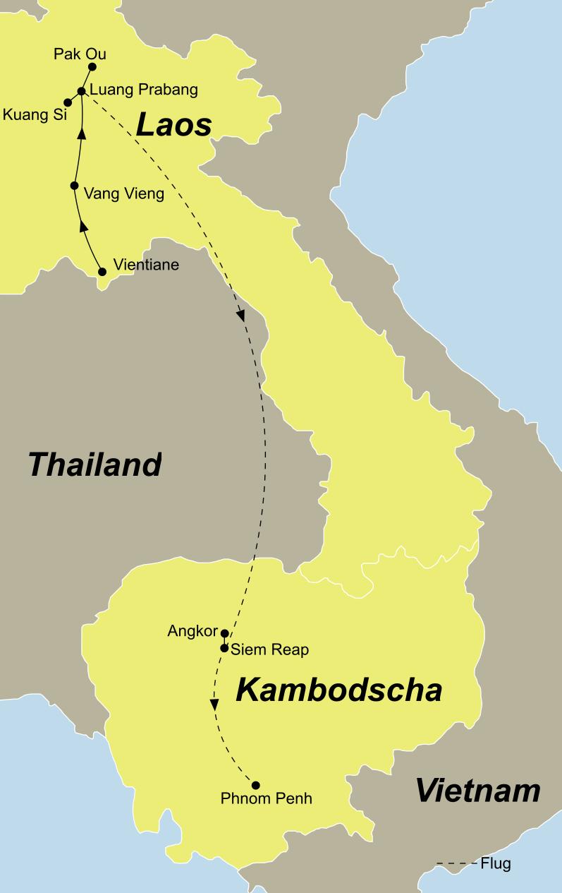 Die Rundreise Laos Kambodscha führt von Vientiane, Vang Vieng, Luang Prabang, Kuang Si und Siem Reap nach Phnom Penh.