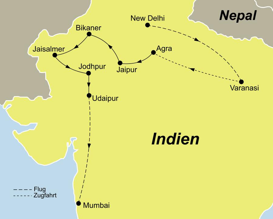Die Indien Erleben Rundreise führt von Delhi über Varanasi, Sarnath, Agra, Jaipur, Shekhawati, Bikaner, Jaisalmer , Jodhpur, Ranakpur, und Udaipur nach Mumbai.