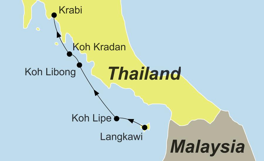 Die Reiseroute Von Malaysia nach Thailand führt über von Langkawi, Koh Lipe, Koh Libong und Koh Kradan nach Krabi.