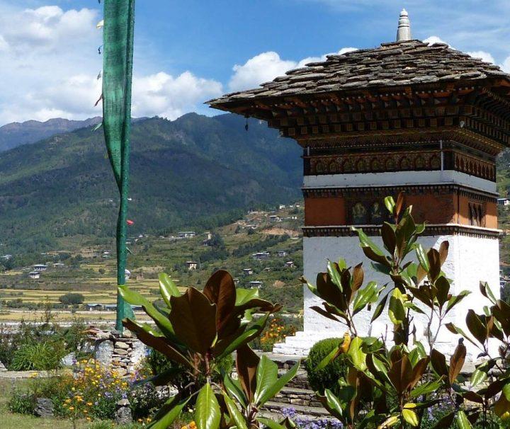 Ein Chorten, ein Kultbau des tibetischen Buddhismus, wie er vielerorts in Bhutan zu finden ist.